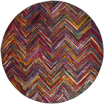 Miley Red/Orange/Green Area Rug Rug Size: Round 67