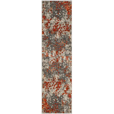 Mila Gray/Orange Area Rug Rug Size: Runner 22 x 14
