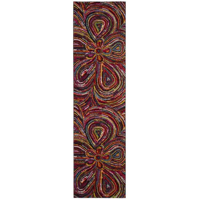 Miley Green/Blue/Red Area Rug Rug Size: Runner 22 x 8