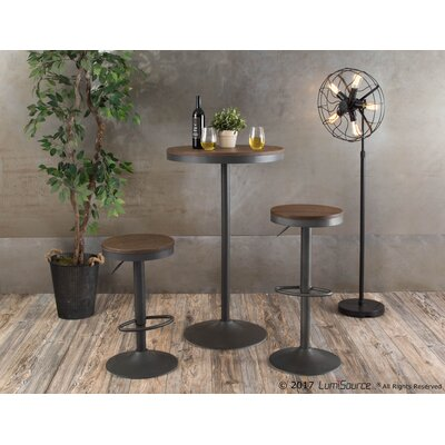 Grenora 3 Piece Adjustable Pub Table Set Wood Color: Black, Metal Color: Brown
