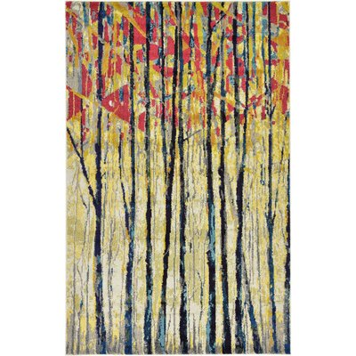 Liz Yellow Area Rug Rug Size: Rectangle 7 x 10