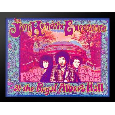 'Jimi Hendrix' Framed Vintage Advertisement Poster in Blue/Pink