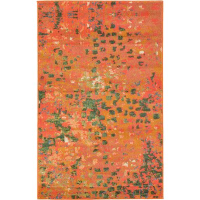 Lilia Orange Area Rug Rug Size: Round 6