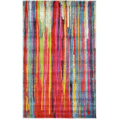 Elvia Blue/Red Area Rug Rug Size: Rectangle 4 x 6