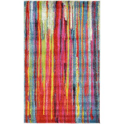 Elvia Blue/Red Area Rug Rug Size: Rectangle 33 x 53