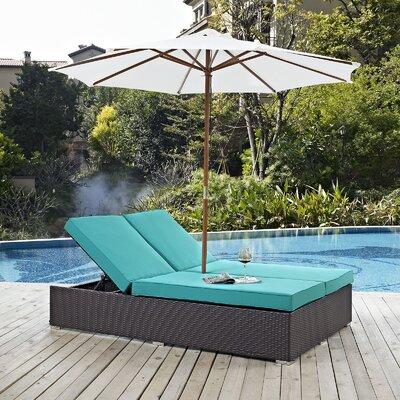 Ryele Double Chaise Lounge with Cushion Fabric: Turquoise