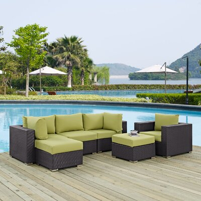 Ryele 6 Piece Outdoor Patio Sectional Set with Cushions Fabric: Espresso Peridot