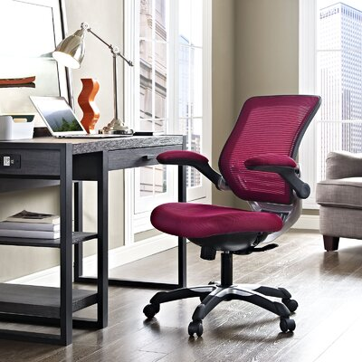 Bonnie Mesh Desk Chair Upholstery: Burgundy