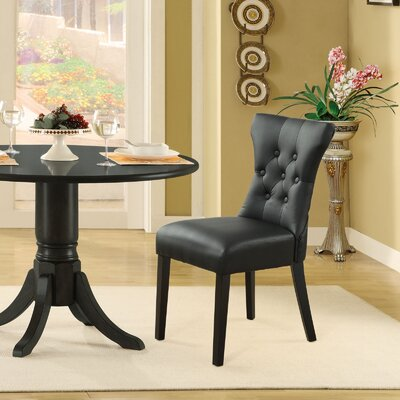 Pineda Contemporary Dining Side Chair Upholstery: Black