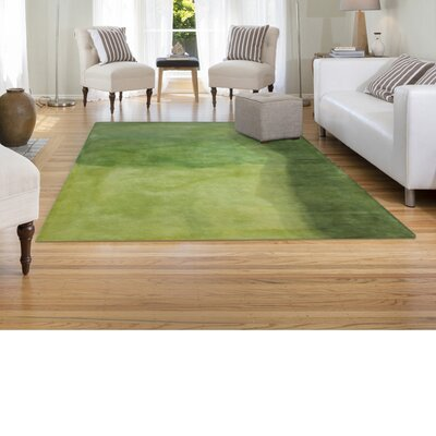 Piazza Watercolors Hand-Tufted Green Area Rug Rug Size: 36 x 56