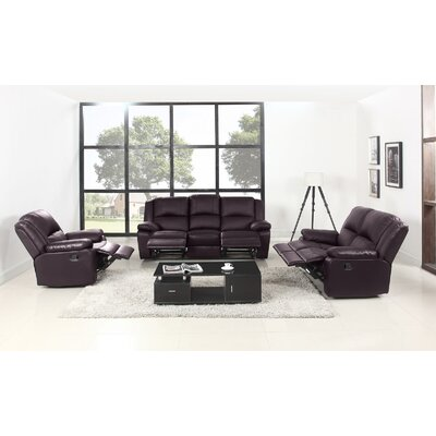 Simpkins 3 Piece Living Room Set Upholstery: Brown