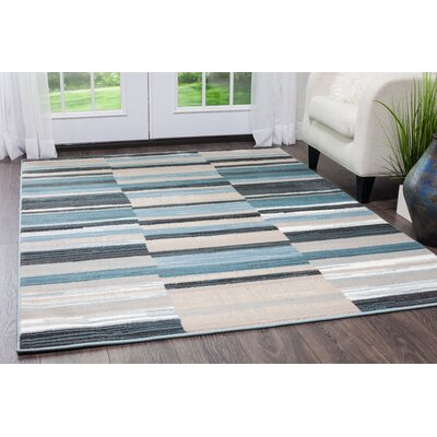 Dexter Blue/White Area Rug Rug Size: Rectangle 92 x 125