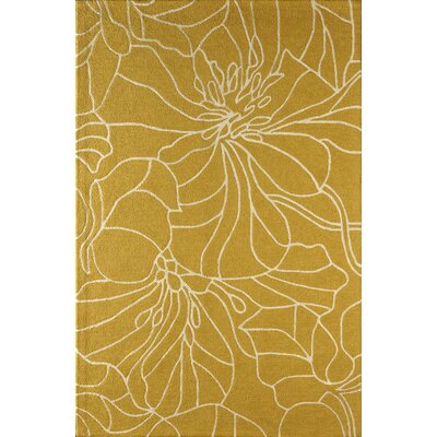 Gina Hand-Tufted Gold/Ivory Area Rug Rug Size: Rectangle 4 x 6