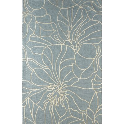 Gina Hand-Tufted Sky Blue/Ivory Area Rug Rug Size: Rectangle 4 x 6