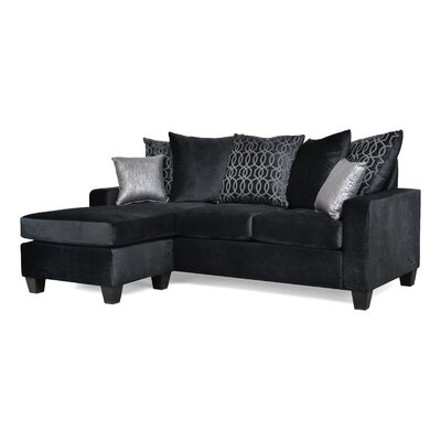 Laurie Reversible Sectional Upholstery: Bella Black / Opereta Pnyx / Glitz Onyx