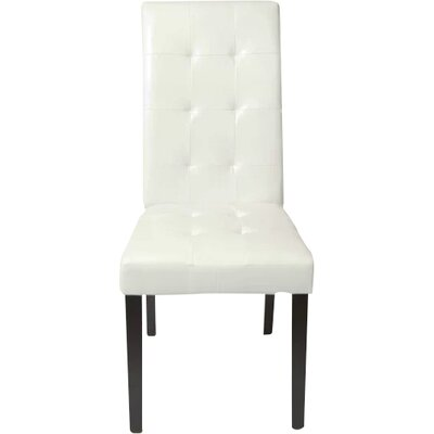Hinton Charterhouse Leather Upholstered Dining Chair Upholstery: White