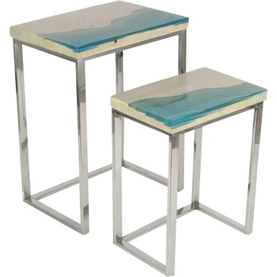 Alpharetta 2 Piece Nesting Table Set Color: Blue