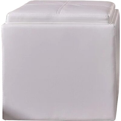 Caddy Storage Ottoman Upholstery: Creamy White