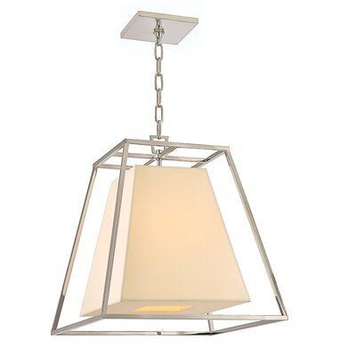 Casner 1-Light Foyer Pendant Finish: Polished Nickel, Shade Color: Cream