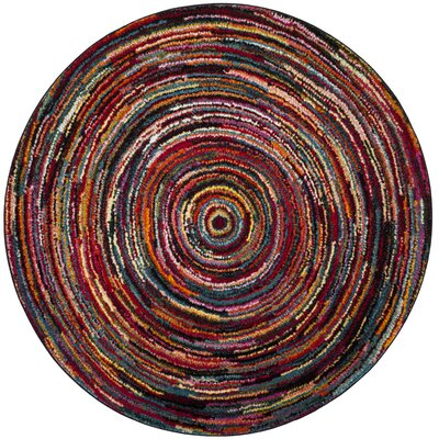 Miley Misc Red Area Rug Rug Size: Round 67