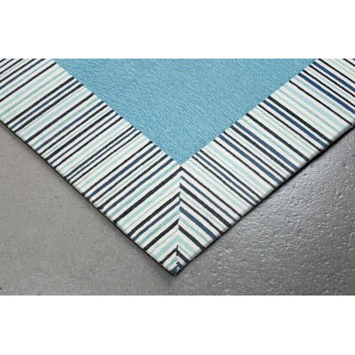 Cosmo Pinstripe Border Hand Tufted Blue Area Rug Rug Size: Rectangle 36 x 56