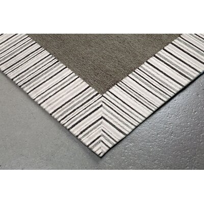 Cosmo Pinstripe Border Hand Tufted Gray Area Rug Rug Size: Rectangle 36 x 56