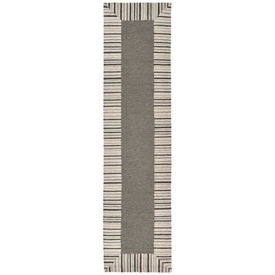 Cosmo Pinstripe Border Hand Tufted Gray Area Rug Rug Size: Runner 2 x 8