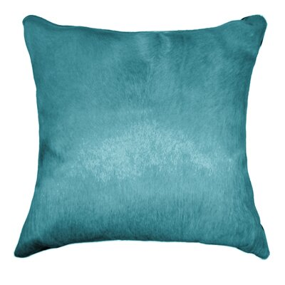 Ruddell Leather Cowhide Throw Pillow Color: Sky Blue