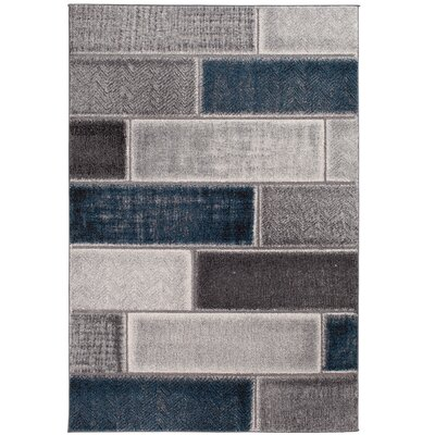 Johnson Block Blue/Gray Area Rug Rug Size: 710 x 910