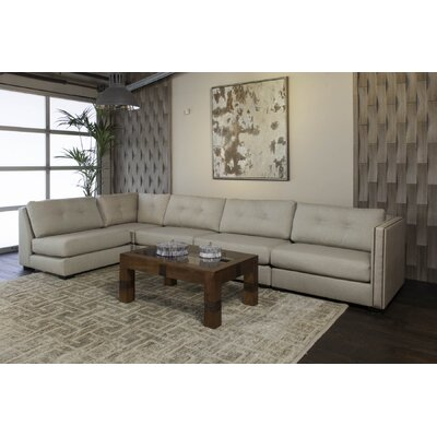 Timpson Buttoned Left L-Shape Modular Sectional Upholstery: Sand