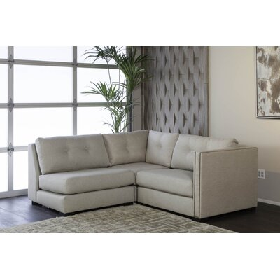 Timpson Buttoned L-Shape Mini Modular Sectional Upholstery: Sand, Orientation: Right Hand Facing