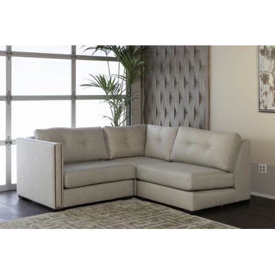 Timpson Buttoned L-Shape Mini Modular Sectional Upholstery: Sand, Orientation: Left Hand Facing