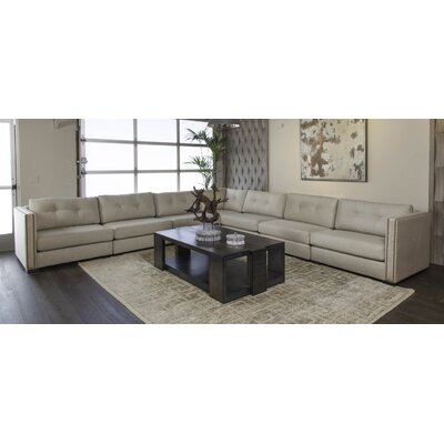 Timpson Buttoned L-Shape Modular Sectional Upholstery: Gray