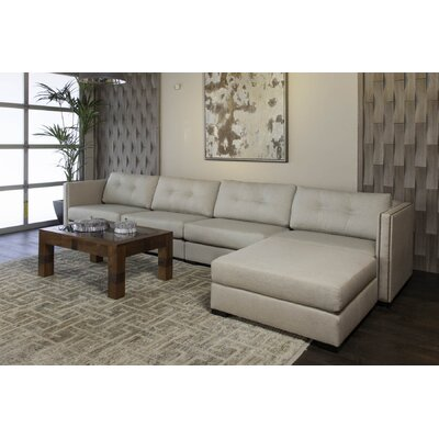 Timpson Buttoned Modular Sectional Upholstery: Sand, Orientation: Right Hand Facing
