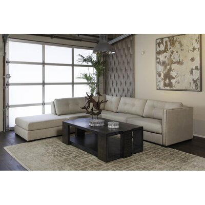 Timpson Buttoned Modular Sectional with Ottoman Upholstery: Sand, Orientation: Left Hand Facing