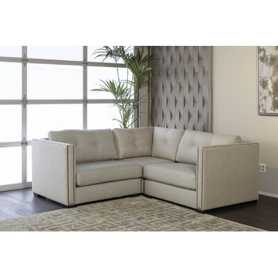 Timpson Buttoned Right and Left Arms L-Shape Mini Modular Sectional Upholstery: Sand