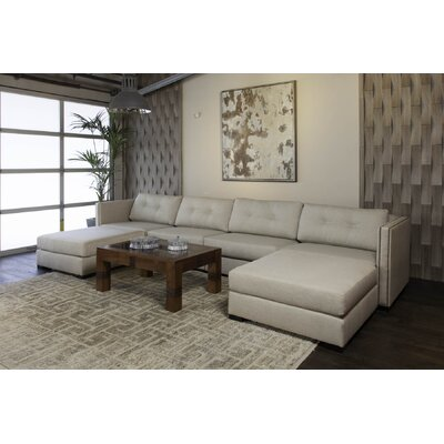 Timpson Buttoned U-Shape Double Chase Modular Sectional Upholstery: Sand