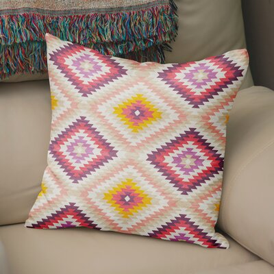 Sulien Indoor/Outdoor Throw Pillow Size: 24 H x 24 W x 5 D, Color: Beige/ Pink/ Ivory/ Purple