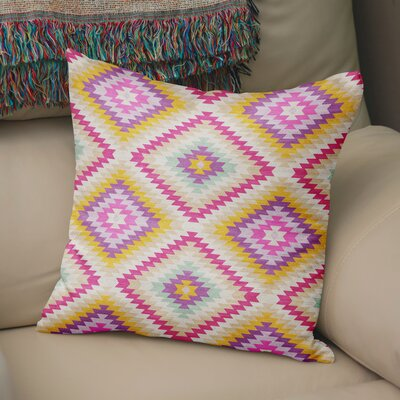 Sulien Indoor/Outdoor Throw Pillow Size: 24 H x 24 W x 5 D, Color: Ivory/ Pink/ Gold/ Purple