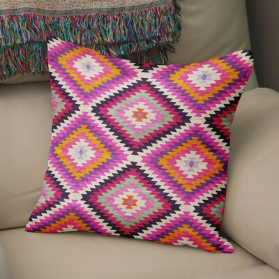 Sulien Indoor/Outdoor Throw Pillow Size: 18 H x 18 W x 5 D, Color: Purple/ Pink/ Orange