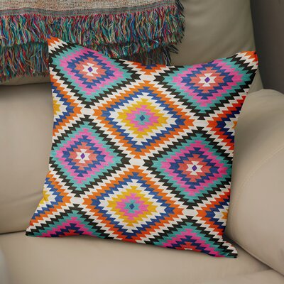Sulien Indoor/Outdoor Throw Pillow Size: 24 H x 24 W x 5 D, Color: Teal/ Orange/ Grey/ Blue/ Pink