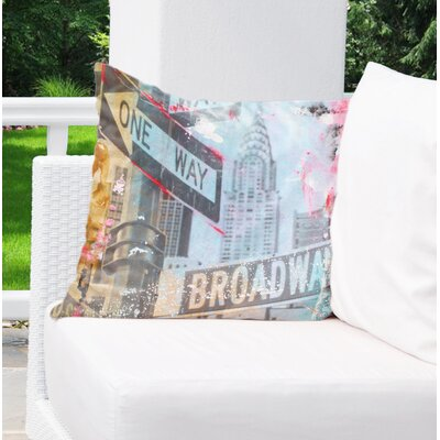 Rousey NYC Abstract One Way Broadway Indoor/Outdoor Throw Pillow Size: 18 H x 18 W x 8 D
