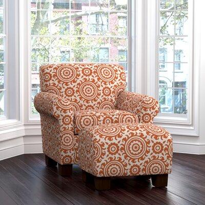 Clarke Armchair and Ottoman Upholstery: Orange Medallion