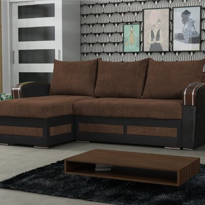 Vitela Reversible Sleeper Sectional Upholstery: Brown