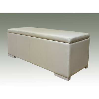 Haslett Storage Ottoman Color: White