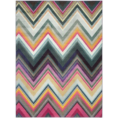 Leonie Green/Pink Area Rug Rug Size: Rectangle 8 x 11