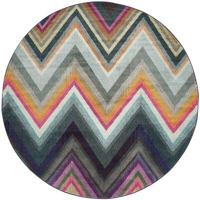 Leonie Green/Pink Area Rug Rug Size: Round 67 x 67
