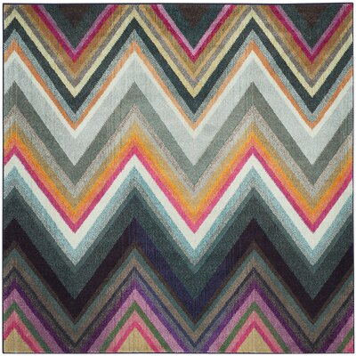 Leonie Green/Pink Area Rug Rug Size: Square 67 x 67