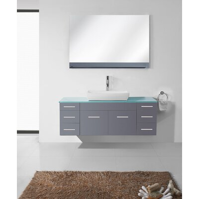 Rutan 56 Single Bathroom Vanity Set with Tempered Glass Top and Mirror Base Finish: Gray, Faucet Finish: Polished Chrome