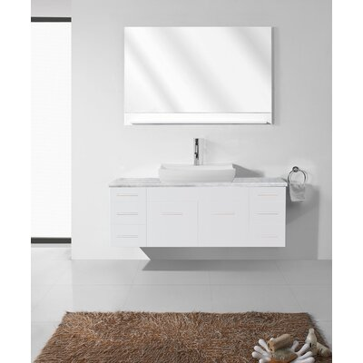 Rutan 56 Single Bathroom Vanity Set with Tempered Glass Top and Mirror Base Finish: White, Faucet Finish: Brushed Nickel